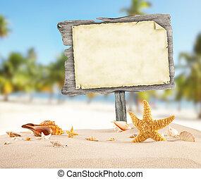 hölzern, sommer, leer, sandstrand, plakat