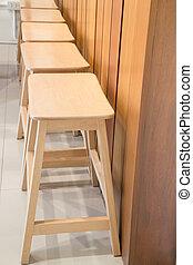 hölzern, stühle, von, straße, kaffeestube