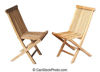 hölzern, stühle, weißes, zwei, hintergrund