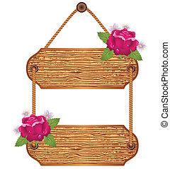 hölzern, tafel, mit, rosen