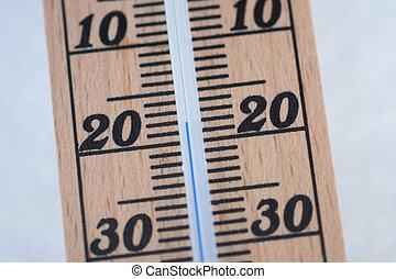 hölzern, thermometer, in, schnee, mit, einfrieren,...