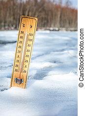hölzern, thermometer, stehende , in, schnee, draußen, auf,...