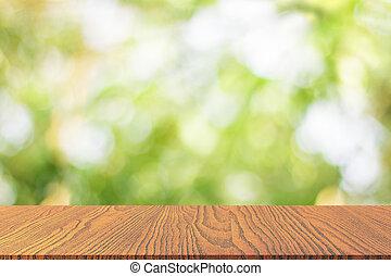 hölzern, tischplatte, mit, frisch, grün, natur