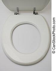 hölzern, toilette, weißes, rgeöffnete, sitz