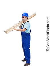 hölzern, trägt, arbeiter, planken