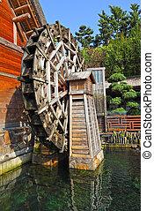 hölzern, waterwheel