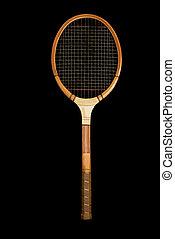hölzern, weinlese, tennis racquet