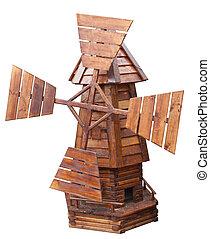 hölzern, windmühle, freigestellt