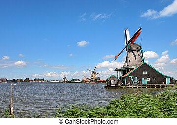 hölzern, windmühlen, in, niederländisch, village.