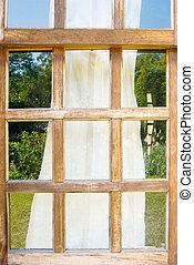 hölzern, windows, drapieren, altes