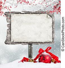 hölzern, winter, stimmung, leerer , zeichen