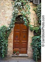 hölzern, wohnhaeuser, türöffnung, in, tuscany., italien