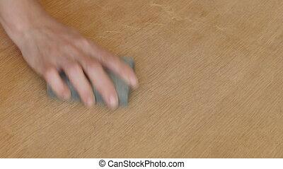 hölzerne hand, arbeiter, planke, schleifen