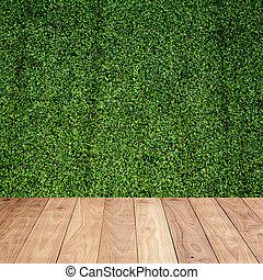 hölzerner fußboden, mit, grünes gras