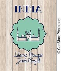 hölzerner inder, masjid, jama, hintergrund, tempel