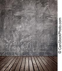 hölzerner stock, zimmer, beton, wall.