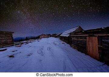 hölzernes haus, winternacht, sternenhimmel