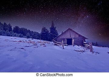 hölzernes haus, winternacht