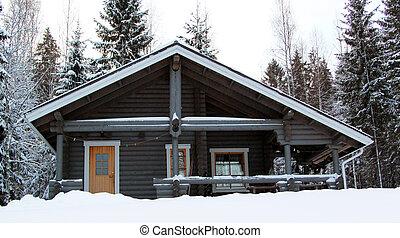hölzernes landhaus, in, winter, wald, bedeckt, per, schnee