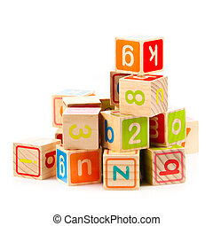 hölzernes spielzeug, würfel, mit, letters., hölzern,...