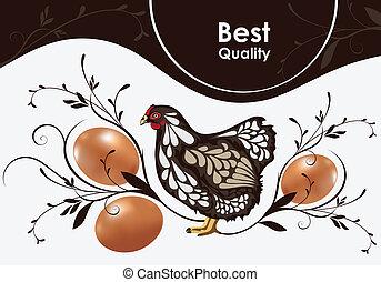 höna, och, ägg