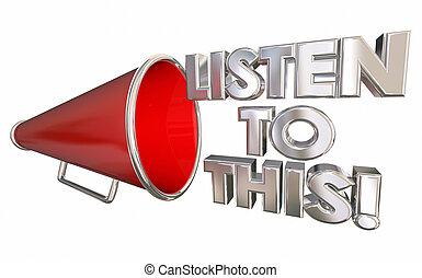 hören, dieser, abbildung, wichtig, megafon, nachrichten, megaphon, 3d