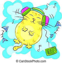 hörlurar, gul katt, musik, fett, lyssnande