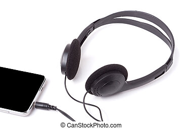hörlurar, isolerat, ringa, svart fond, vit