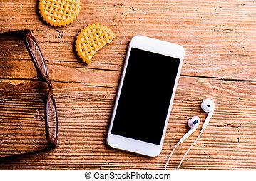 hörlurar, kontor, objekt, Av, glasögon,  smartphone, Annat