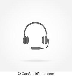 hörlurar, med, a, mikrofon, hörlurar med mikrofon, ikon