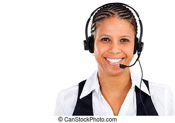 hörlurar med mikrofon, afrikansk, affärskvinna