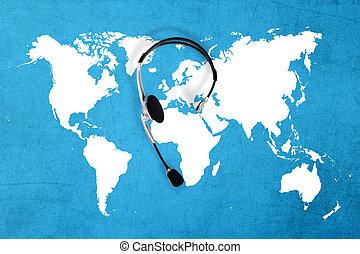 hörlurar med mikrofon, begrepp, karta, topp,  global, kontakta, synhåll