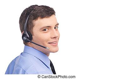 hörlurar med mikrofon, centrera, arbete, teknisk understöd, lysande, rop, white., affärsman, operatör, stående, le, stilig