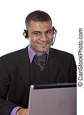 hörlurar med mikrofon, centrera, uttrycka, rop, operatör, lycka