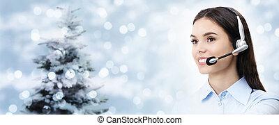 hörlurar med mikrofon, kvinna, isolerat, tema, bakgrund, le, jul