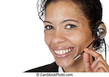 hörlurar med mikrofon, kvinna, rop, attraktiv, le, märken