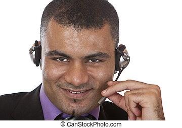 hörlurar med mikrofon, manliga unga, stående, option att köpa centrera, medel