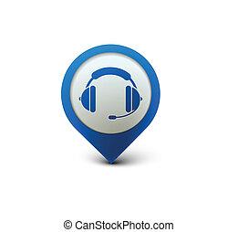 hörlurar med mikrofon, nät, ikon