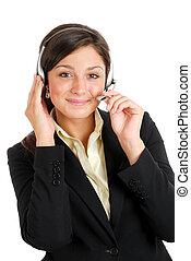 hörlurar med mikrofon, womanaffär, henne, communcations, holdingen