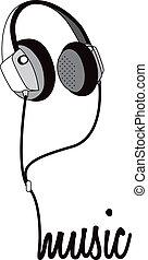 hörlurar, musik, överskrift