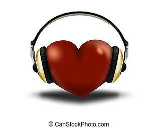 hörlurar, och, hjärta