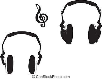hörlurar, och, musik anteckna