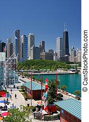 hörna, av, chicago, marinblå pir, hos, sommartid