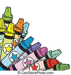 hörna, blyertspenna, bakgrund, färgad
