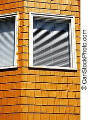 hörna, fönstren, av, apelsin, byggnad