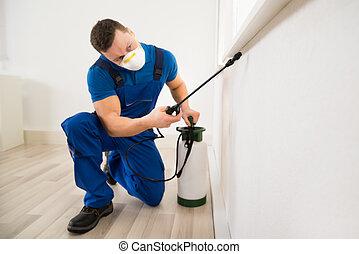 hörna, insektsmedel, fönster, arbetare, besprutning