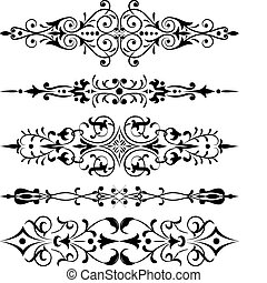 hörna, vektor, blomma, design, element