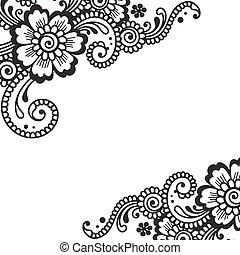 hörna, vektor, prydnad, blomma