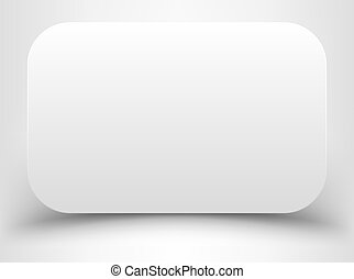hörnen, vit, rundat, rektangel, tom