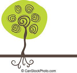 höst, abstrakt, träd